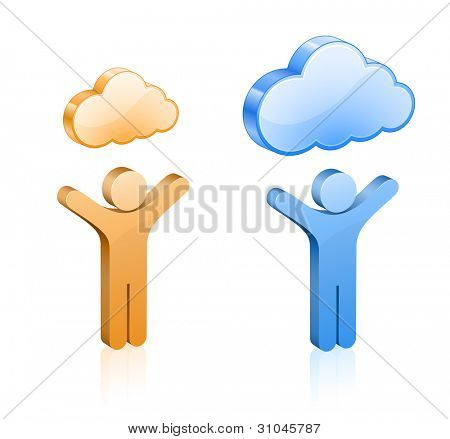 Custom cloud hosting vector illustration. People and glossy clouds