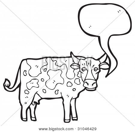 cartoon cow with speech bubble