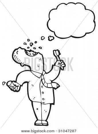cartoon businessman brushing teeth