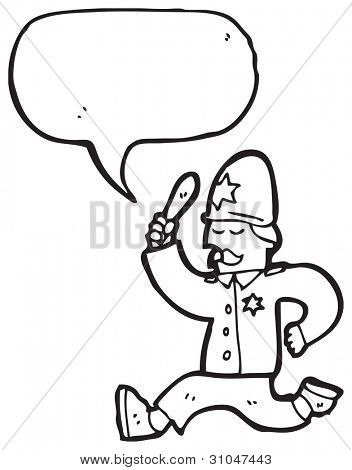 cartoon policeman giving chase