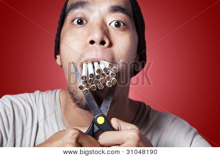 Smoker With Scissor And Lots Of Smokes