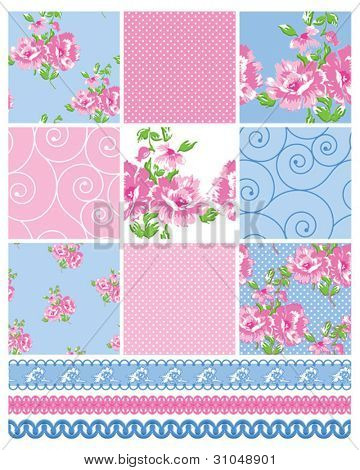 Shabby Chic Country Floral Vector Seamless Patterns.  Use to make quilts, fabric projects or paper crafts.