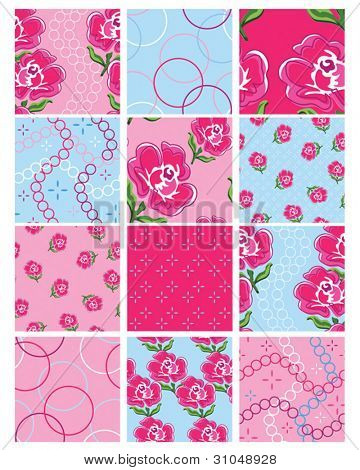 Set of 12 Floral Vector Seamless Patterns.  Great for use to print onto fabric for patchwork quilting or for use as digital paper.