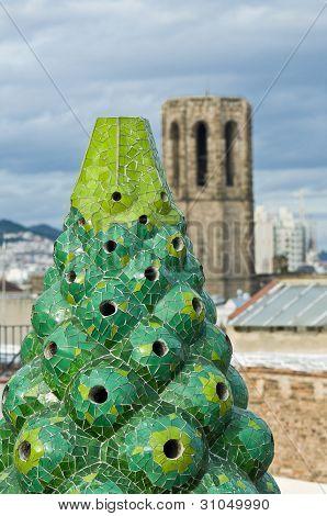 Barcelona, Spain - December 15: The Mosaic Chimneys Made Of Broken Ceramic Tiles On Roof Of Palau Gu