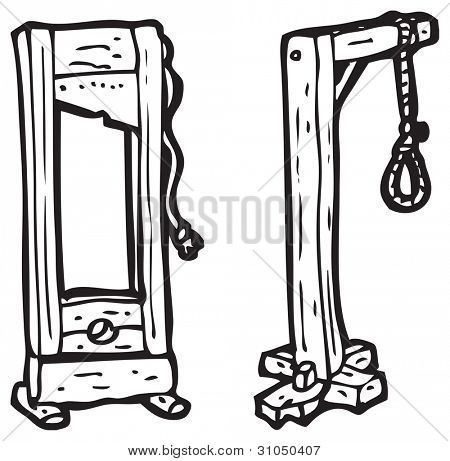 guillotine and hangman's noose cartoon
