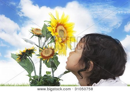 Cute Girl With Sunflowers
