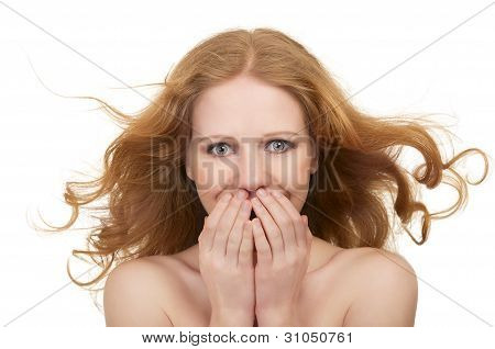 Beautiful Surprised Young Woman With Flowing Hair Shocked Open Mouth Closes Hands Isolated
