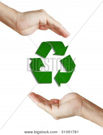 Recycled Paper Sign Floating Between Well Shaped Hand