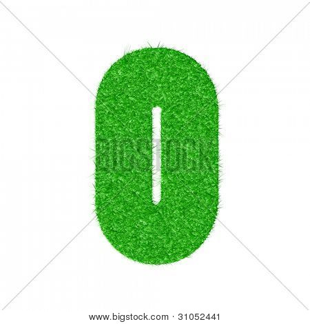 3D number 0 - from my natural green grass number collection - vector illustration