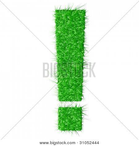 Exclamación de hierba aislada sobre fondo blanco - ilustración vectorial