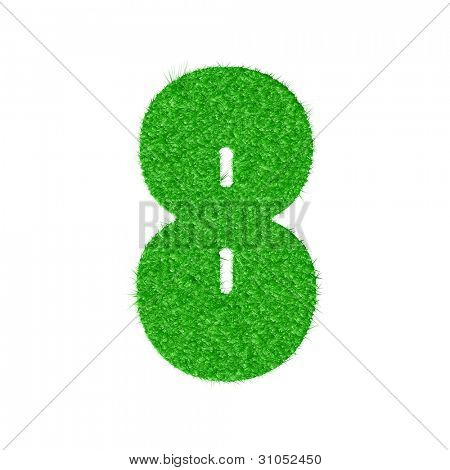 3D number 8 - from my natural green grass number collection - vector illustration