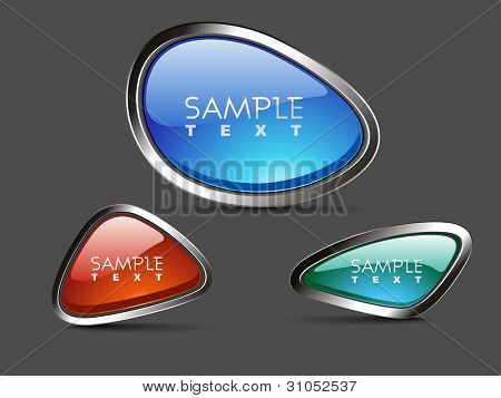 Set of web 2.0  stylish and glossy. oval shape buttons, eps 10 format, use as label, tag, icon and button, vector illustration in orange, red , sky blue and sea green colors..