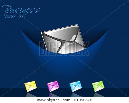 Set of isolated website and internet web 2.0 icons for new message or unread message with mail or message symbol on blue background.