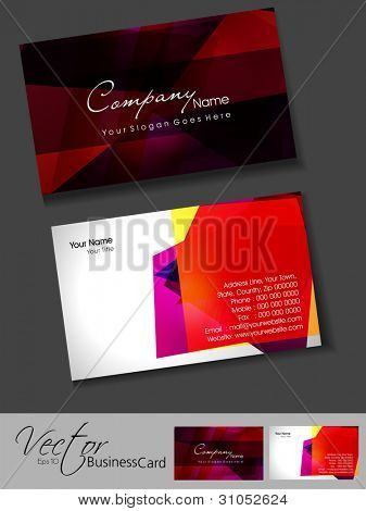 Professional business card set or template. Artistic, colorful abstract corporate look in dark and bright colors, EPS 10 Vector illustration.