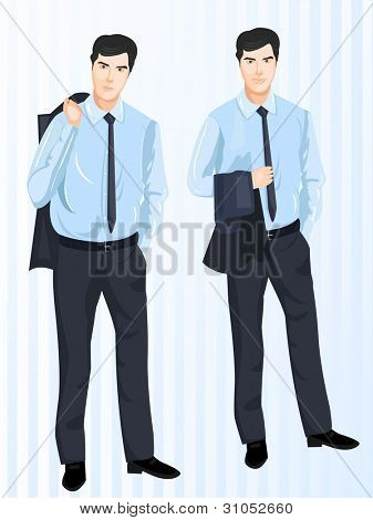 Vector illustration of  character, business set 2. Smiling young businessmen  standing, and wearing professional dress.  EPS 10.