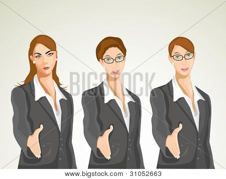 Vector character, business set-1. Group of young businesswomen wearing professional uniform, offering hands for deal. eps 10.