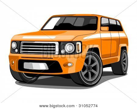 Vector illustration SUV or Sport Utility Vehicle  in Orange Color