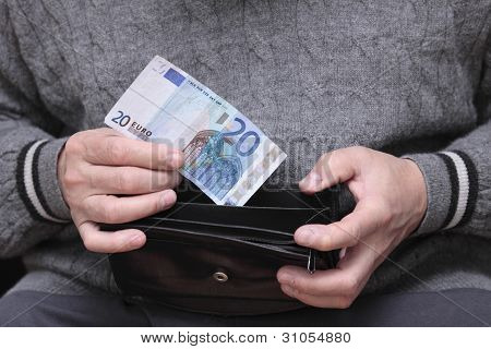 Old Man With Euro Note