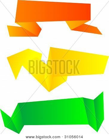 Origami Symbolic Set Isolated On White. Vector