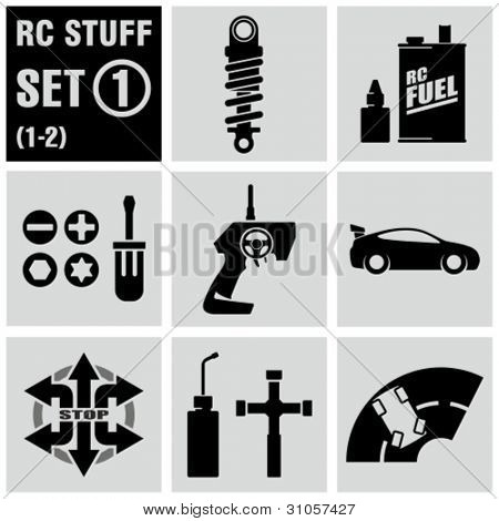RC - vector black icon set 1. Remote control toys.