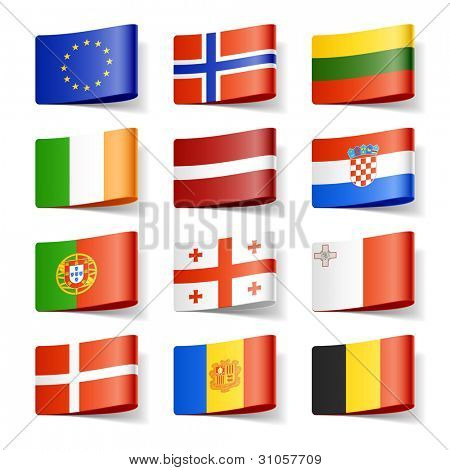 World flags. Europe. Vector.