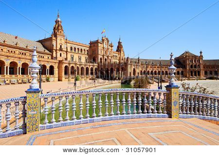 Plaza De Espana Seville, Andalusia, Spain, Europe