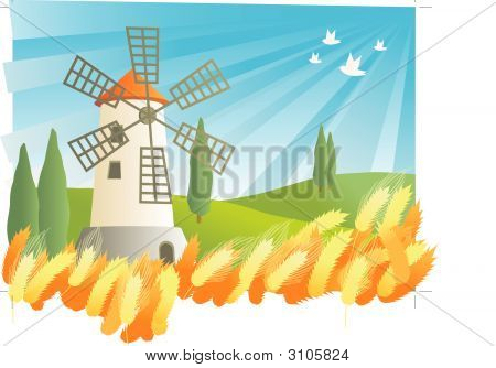 Landscape Illustration Of A Windmill