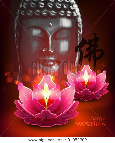Vector Lotus Oil Lamp with Buddha Portrait