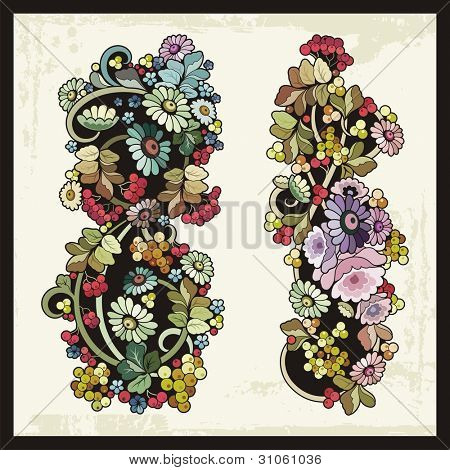 Vector floral ornamental set in Russian traditional style.