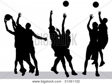 矢量图形的篮球.球的侧面影像男人