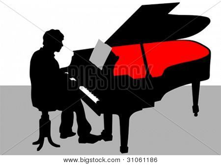 Vector drawing of a man playing piano on stage