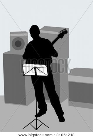 Vector drawing of a man with an electric bass guitar