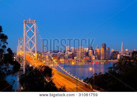 Bay Bridge and San Francisco downtown