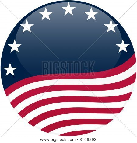 Waving American Flag On Blue With Stars