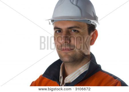 Confident Engineer Isolated On White With Copy Space