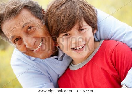 Hispanic grandfather and grandson