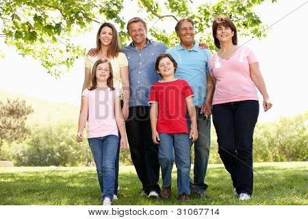 Multi generation Hispanic family in park