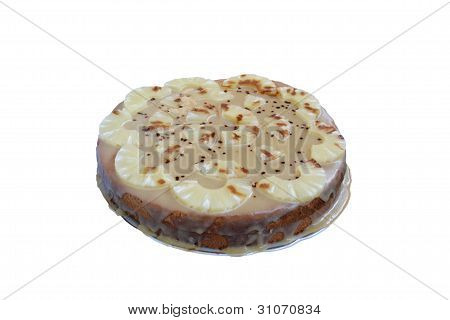 Homemade Cake With Ananas Pieces Isolated On White