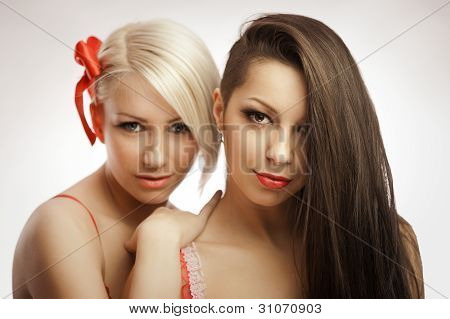 Blonde And Brunette Portrait