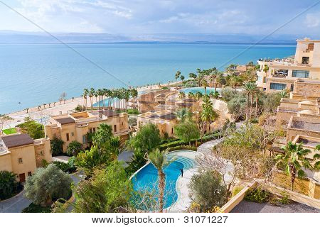 Panorama Of Resort On Dead Sea Coast