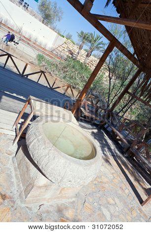 Font-stone In Baptism Site On Jordan River