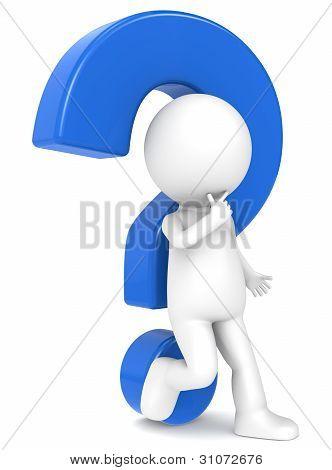 Carácter humano 3D con un signo de interrogación azul