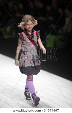ZAGREB, CROATIA - MARCH 16: Fashion model wears clothes made by Bambi by Zigman on