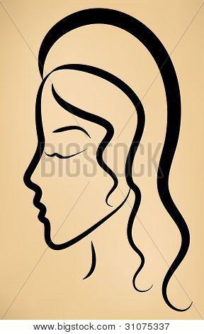 Esboço de perfil de rosto da mulher em fundo Vintage