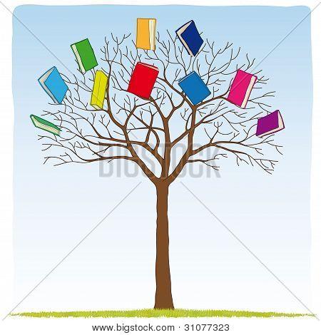 Bücher auf dem Baum