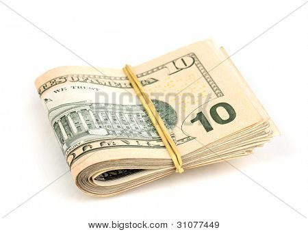 Dollar banknotes tied with rubber band isolated on white