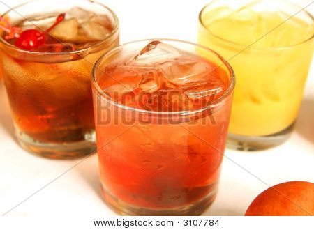 Close Up Three Mixed Drinks