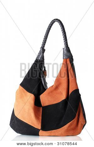 beautiful leather woman bag isolated on white