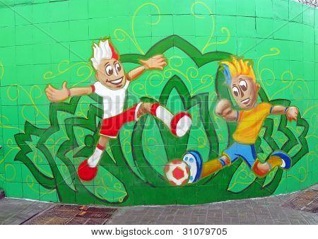Kiev - 26 de fevereiro: Esporte futebol divertimentos em roupas nacionais em 26 de fevereiro de 2012, em Kiev, Ucrânia