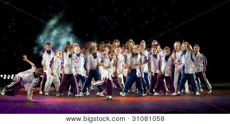 "VITEBSK, BELARUS - JULY 1: Unidentified children from dancing group ""Belka"" at a concert ""Dancing group ""Belka"" collects friends"" on july 1, 2011 in Vitebsk, Belarus"